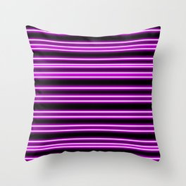 Pink Neon Lines Throw Pillow
