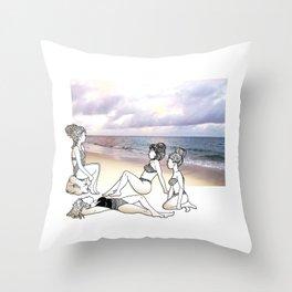 Girlfriends at the Beach Throw Pillow