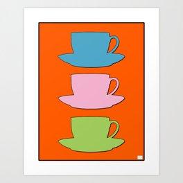 Retro Coffee Print - Retro Colors on Burnished Orange Background Art Print