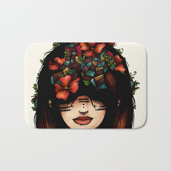The girl who was thinking about geometry & red flowers Bath Mat