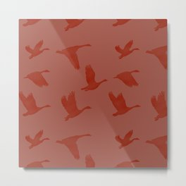 Flying Bird Pattern | Red Mood Metal Print