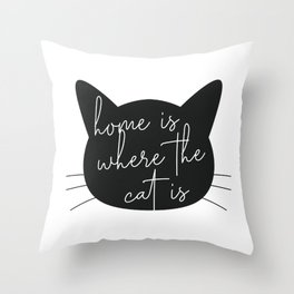 Home Is Where the Cat Is Silhouette Throw Pillow