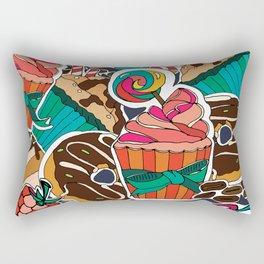 Pattern. Desserts, muffins, cupcakes, candies, cheesecake, chocolate, coffee. Rectangular Pillow