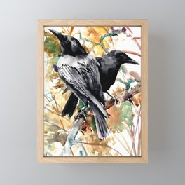Ravens in the Fall, raven wall art Framed Mini Art Print