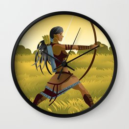 indian native african huntress archer warrior with bow and arrow in the wild Wall Clock