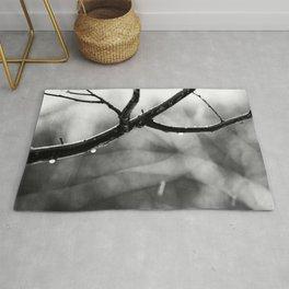 Linden Tree Branch In The Autumn Rain Rug