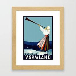 Vintage Varmland Sweden Travel Poster Framed Art Print