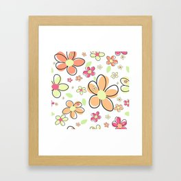 Cute Colorful Simple Daisy Flower Pattern Framed Art Print