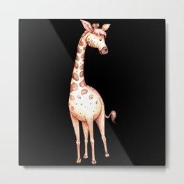 Waterolor giraffe drawing gift for giraffe fans Metal Print