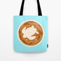 sea turtle Tote Bags featuring Turtle by Nancy Smith