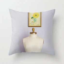 Her and the girl with the yellow flower Throw Pillow