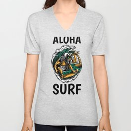 Gnarly Aloha Surf Surfer Dude Funny Hang Ten Surfing the Waves Unisex V-Neck