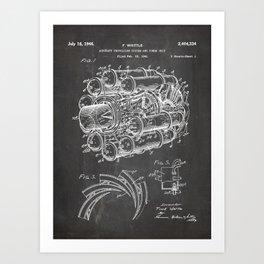 Airplane Jet Engine Patent - Airline Engine Art - Black Chalkboard Art Print
