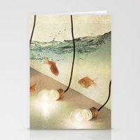 andreas preis Stationery Cards featuring ideas and goldfish by Vin Zzep