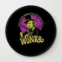 willy wonka Wall Clocks featuring Willy W quote v2 by Buby87