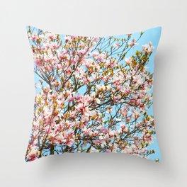 Vibrant Magnolias Throw Pillow