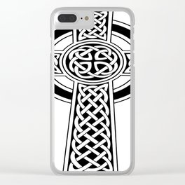 St Patrick's Day Celtic Cross Black and White Clear iPhone Case