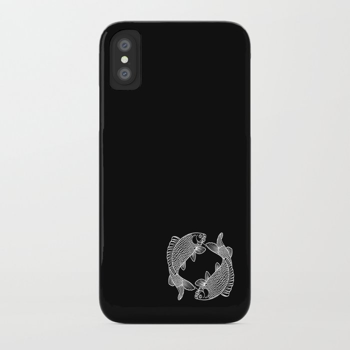 Black White Koi Minimalist iPhone Case