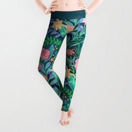 Roses + Green Messy Floral Posie Leggings