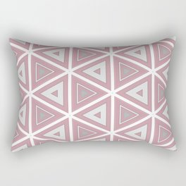 Bright White and Pink Triangle Pattern Rectangular Pillow