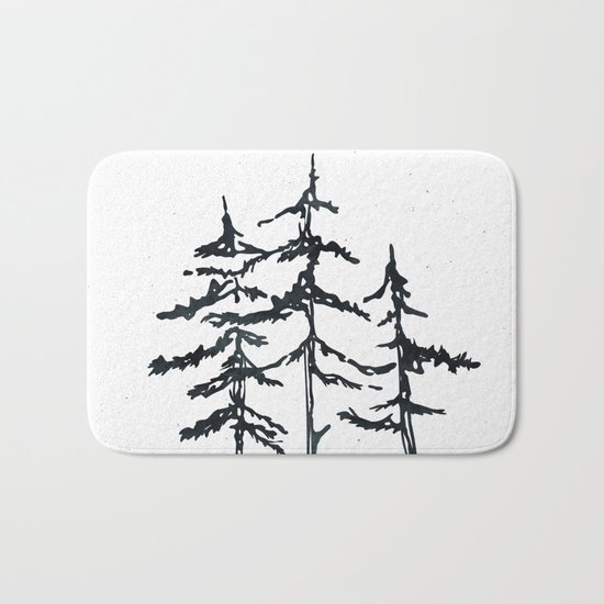 THE THREE SISTERS Black and White Bath Mat