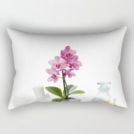 spa composition with beautiful pink orchid over white Rectangular Pillow