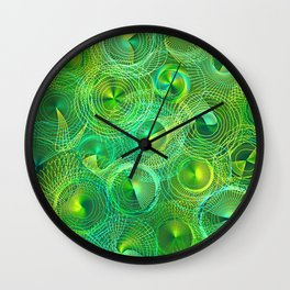 Psychedelic Swirl Abstract in Lime Wall Clock