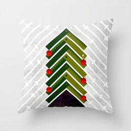 084 - Owly sitting the Christmas rocket tree Throw Pillow