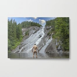Wading at Falls Metal Print