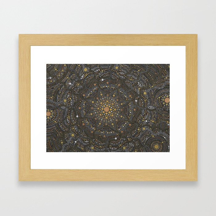 Cosmic Breath - Dot Mandala Framed Art Print