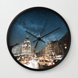 Madrid at night Wall Clock