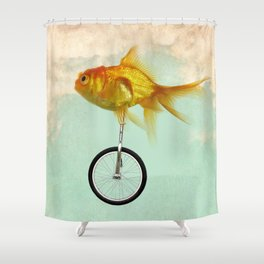 unicycle gold fish -2 Shower Curtain
