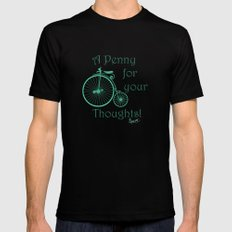 Penny Farthing. MEDIUM Mens Fitted Tee Black