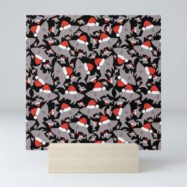 Santa Sharks Black Background Mini Art Print