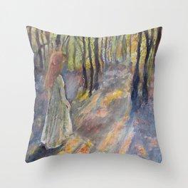 Princess in the Autumn Woods Throw Pillow