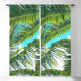 Life Under Palm Trees, Colorful Bohemian Beachy, Tropical Travel Nature Graphic Design Blackout Curtain