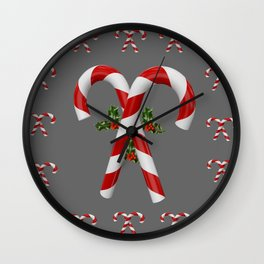 RED-WHITE  CHRISTMAS CANDY CANES HOLLY BERRIES Wall Clock