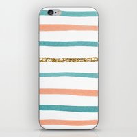 stripe iPhone & iPod Skins featuring Sparkle Stripe by Social Proper