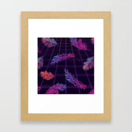 Synthwave Palm Leaves Framed Art Print