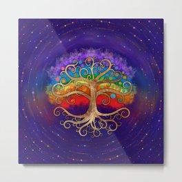 Tree of life Golden Swirl and Rainbow Metal Print