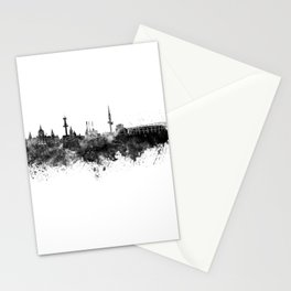 Hannover skyline in black watercolor Stationery Cards