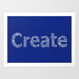 Create: Cut Paper Typography in Blue Art Print