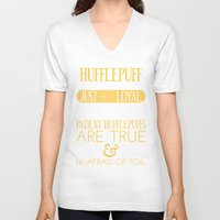 hufflepuff V-neck T-shirts featuring Hufflepuff by Dorothy Leigh