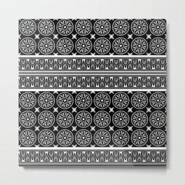 African Ethnic Tribal Black Pattern Metal Print