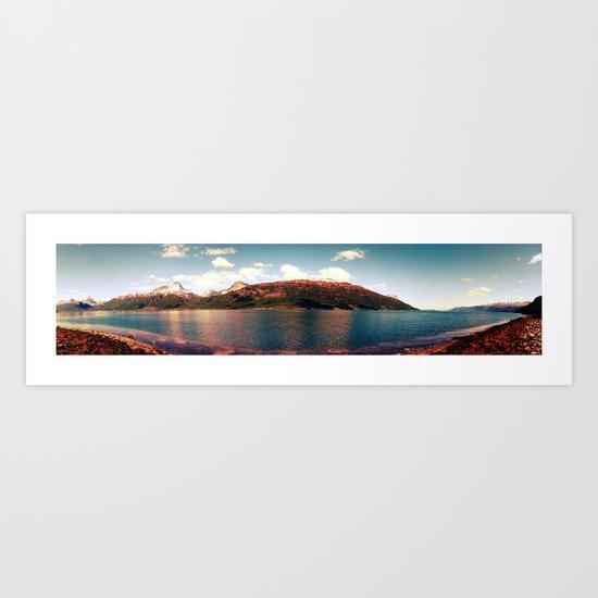 fjord landscape panorama, norway Art Print