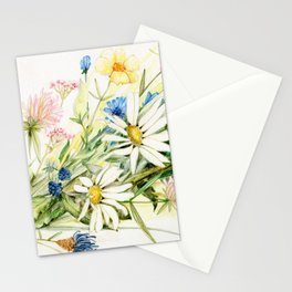 Bouquet of Wildflowers Original Colored Pencil Drawing Stationery Cards