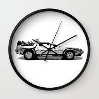 delorean Wall Clocks featuring Delorean Low poly by Angel Decuir