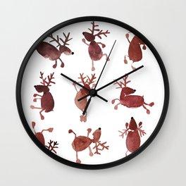 Santa's Dancing Reindeer Watercolor Wall Clock
