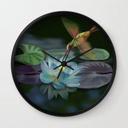 Lotus and hummingbird Wall Clock