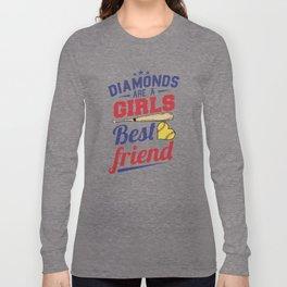 Softball bat baseball diamond Long Sleeve T-shirt